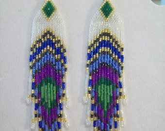 Native American Style Beaded Peacock Eye Earrings 5 1/2 in. long Shoulder Dusters Southwestern, Hippie, Boho, Brick Stitch Peyote Great Gift