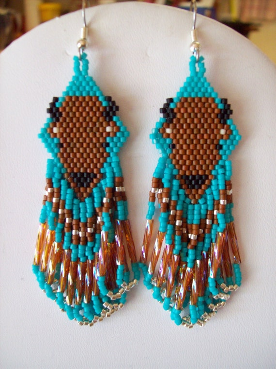 Native American Style Beaded Turquoise Buffalo Earring