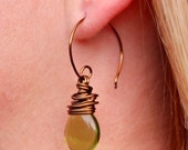 Olive Green Briolette Wire Wrapped Antique Brass