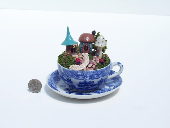 OOAK Miniature Fairy House Or Hobbit House Scene In A Child's Blue Willow Cup & Saucier By O'Dare