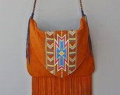 RESERVED for Heather- Hand-painted Southwest Design Golden Orange Deerskin Suede Fringe Bag Purse