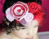 Valentine's Day Pink Red Rosette Headband - Photo Prop - Baby Headband - Valentines Day