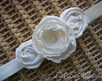Rosette Headband - Christening - Bridal - Flower Girl - Ivory Satin Flower and Rosettes
