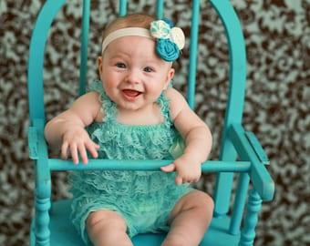 Newborn Baby Headband - Cute Turquoise and Ivory Triple Rosette Headband - Photo Prop - Newborn