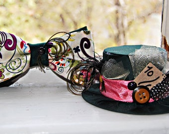Mad Hatter Mini Top Hat and Bow Tie SET- Alice in Wonderland - Tea Party - Costume Birthday - Photo Prop