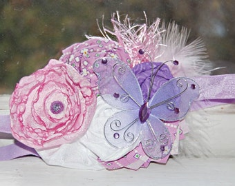 Butterfly Rosette Headband - Pink, Purple, and White - Rosette and Satin Flower Headband - Baby Girl - Photo Prop
