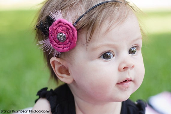 Fabric Rosette - Hot Pink Single Rosette Headband - Photo Prop - Baby - Newborn - Teen