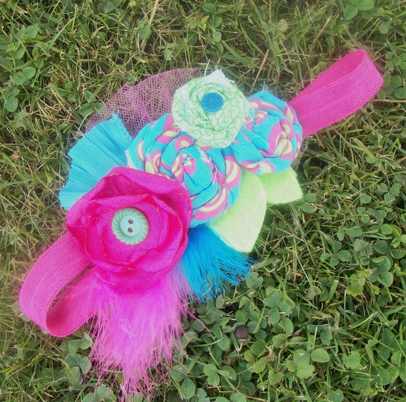 Lime Green, Teal, and Hot Pink Rosette Couture Headband - Photo Prop - Birthday