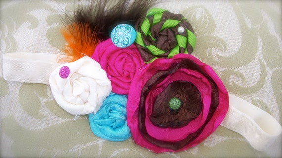 Couture Rosette Headband in Hot Pink, Lime Green, and Brown - Photo Prop - Birthday - Autumn