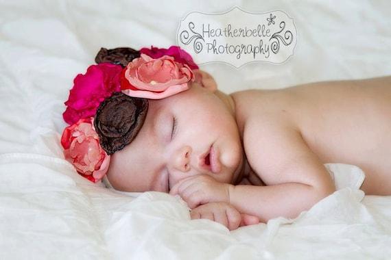 Satin Flower Headband and Anklet SET - Photo Prop - Newborn - Bridal
