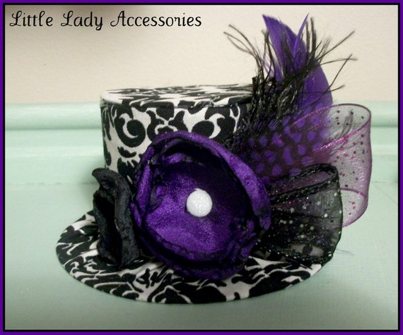 Mini Top Hat  Alice in Wonderland Black and White Damask w/ Purple Accents  Birthday Hat Photography Prop