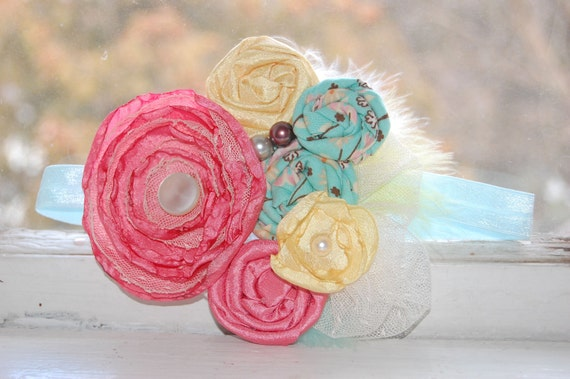 Couture Rosette Headband in Coral, Pale Yellow, and Teal - Photo Prop - Birthday - Summer