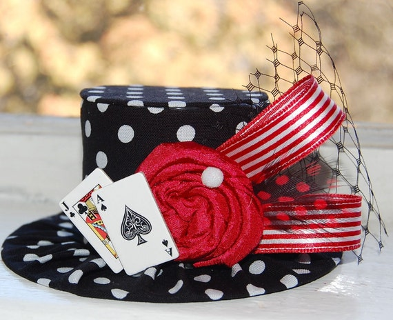 Mini Top Hat - Alice in Wonderland Inspired- Tea Party - Costume Birthday - Photo Prop - Deck of Cards