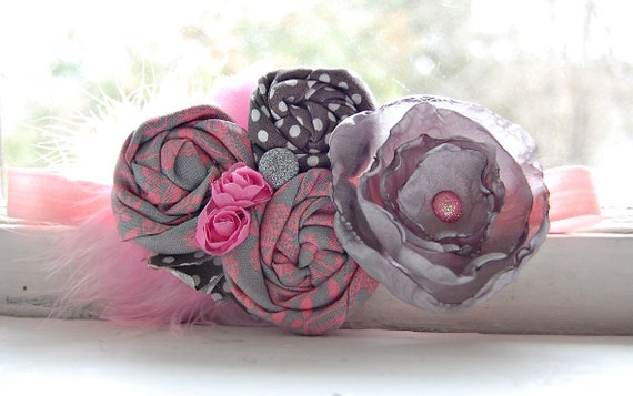 Rosette Headband in Pink and Gray - Fabulous Photo Prop - Birthday - Baby Headband - Couture