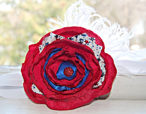 Patriotic Headband - Satin Flower Headband - Red, White, and Blue - Fourth of July - Baby Headband - Newborn