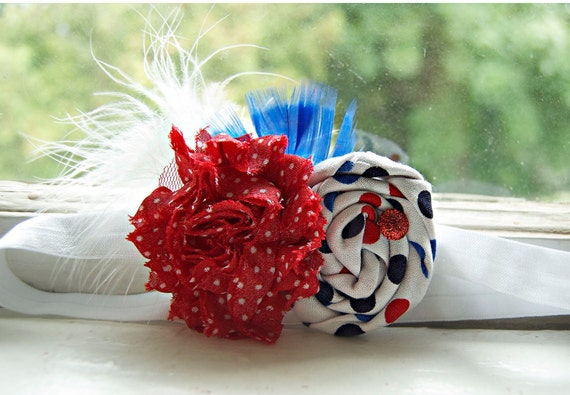Fourth of July  Rosette Headband - Red, White and Blue  - Photo Prop Baby Headband Patriotic Headband