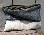 WC Recycled Dipped Denim clutch/ makeup/ travel bag
