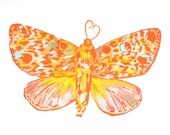 "CLEARANCE 50% OFF /// Rust Moth screen print with watercolor and soft pastel, 11"" x 14"""