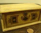 dollhouse Miniature chest in walnut. hand-painted with designs typical of Florence. 1/12 scale single copy