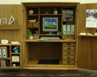 dollhouse miniature office in a cabinet