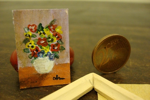 Reserved for Jessie Miniature picture painted by hand with wooden frame customizable