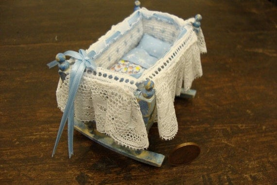 dollhouse Miniature baby cot, complete with linen  light blue