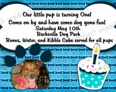 Doggie Birthday Invitation Print Your Own 5x7 or 4x6