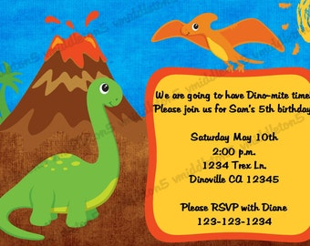 Dinosaur Birthday Invitation Print Your Own 5x7 or 4x6