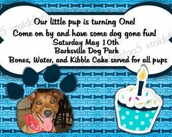 Doggie Birthday Invitation Print Your Own 5x7 or 4x6