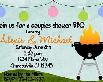 Couples Bridal / Wedding Shower BBQ / Cookout Invitation 4x6 or 5x7 Print Your Own