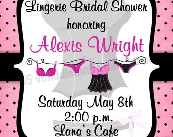 Lingerie Bridal Shower Invitation Print Your Own 4x6 or 5x7