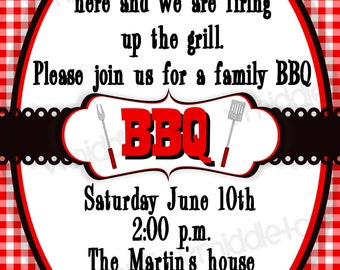 BBQ Invitation Picnic / Cookout Print Your Own 4x6 or 5x7