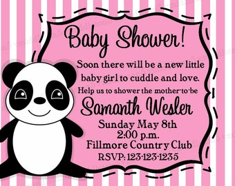 Baby Shower Panda Invitation Girl Boy And Neutral Options Print Your Own 4x6 or 5x7