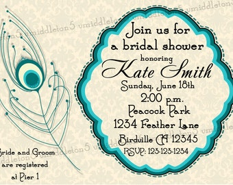 Peacock Feather Bridal or Baby Shower Invitation Print Your Own 4x6 or 5x7