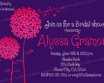 Flower Bridal or Baby Shower Invitation Print Your Own 5x7 or 4x6