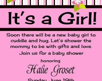 Girl Baby Shower Invitation with Blossoms Print Your Own 5x7 or 4x6