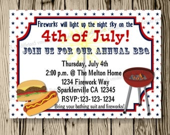 4th of July Independence Day BBQ Cookout Invitation Print Your Own 5x7 or 4x6