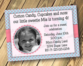 Cotton Candy Sweets Birthday Invitation Print Your Own 5x7 or 4x6