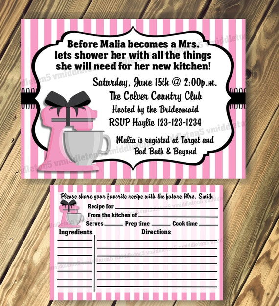 Kitchen Bridal Shower Invitation with Matching Recipe Cards Print Your Own 5x7 or 4x6