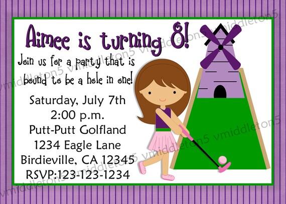 Girl or Boy Miniature Golf Birthday Invitation Print Your Own 5x7 or 4x6