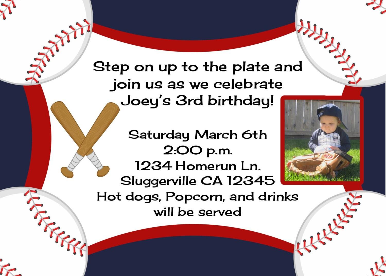 Baseball Birthday Invitation With Photo Option Any MLB or