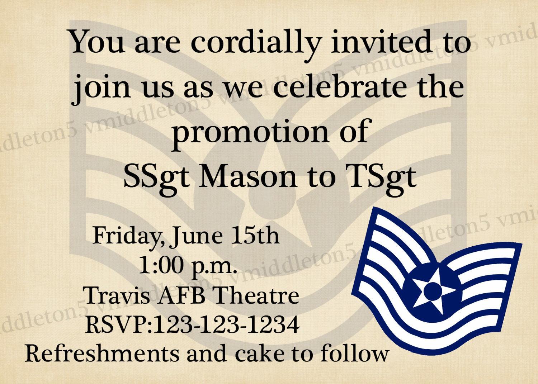 Military Promotion Ceremony Invitation Any Branch Any Rank