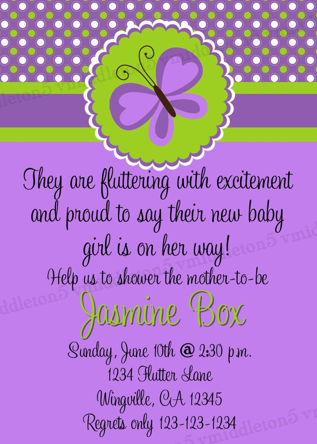 butterfly baby shower invitation print your own 5x7 or 4x6