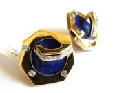 Signed 18k Lapis Earrings Flaircraft, Jose Hess, Art Deco Vintage Mod 60s Estate Rare Find FREE SHIPPING