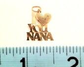 "14k Gold ""I heart you Nana"" pendant, charm Gift for grandma Grandmother Love"