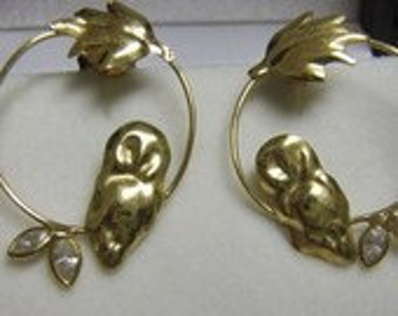 14k Owl Earrings perched on branch Circle  vintage Solid gold. SALE Delightful
