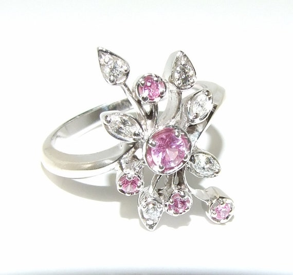 BIG SALE Pink Sapphire and diamond 14k white gold ring Assymetrical floral Spray 1200 dollars value /weighty solid gold Deco
