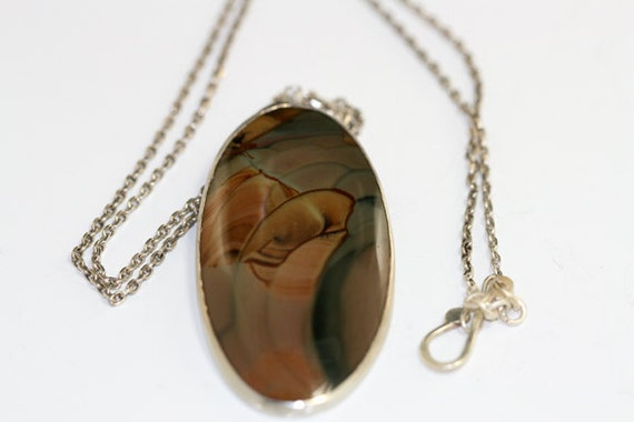 Sterling Silver Pendant  Imperial Jasper, Handmade One-Of-Kind