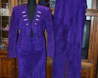 Vintage 1980s  LOTUS 3pc Suede Suit