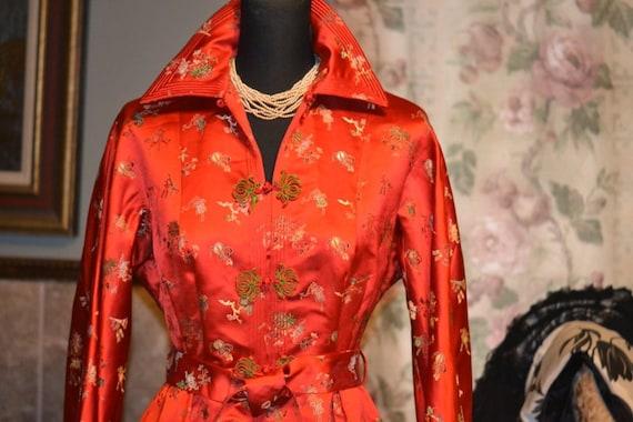 c1950 Chinese Red Silk Lounge Robe